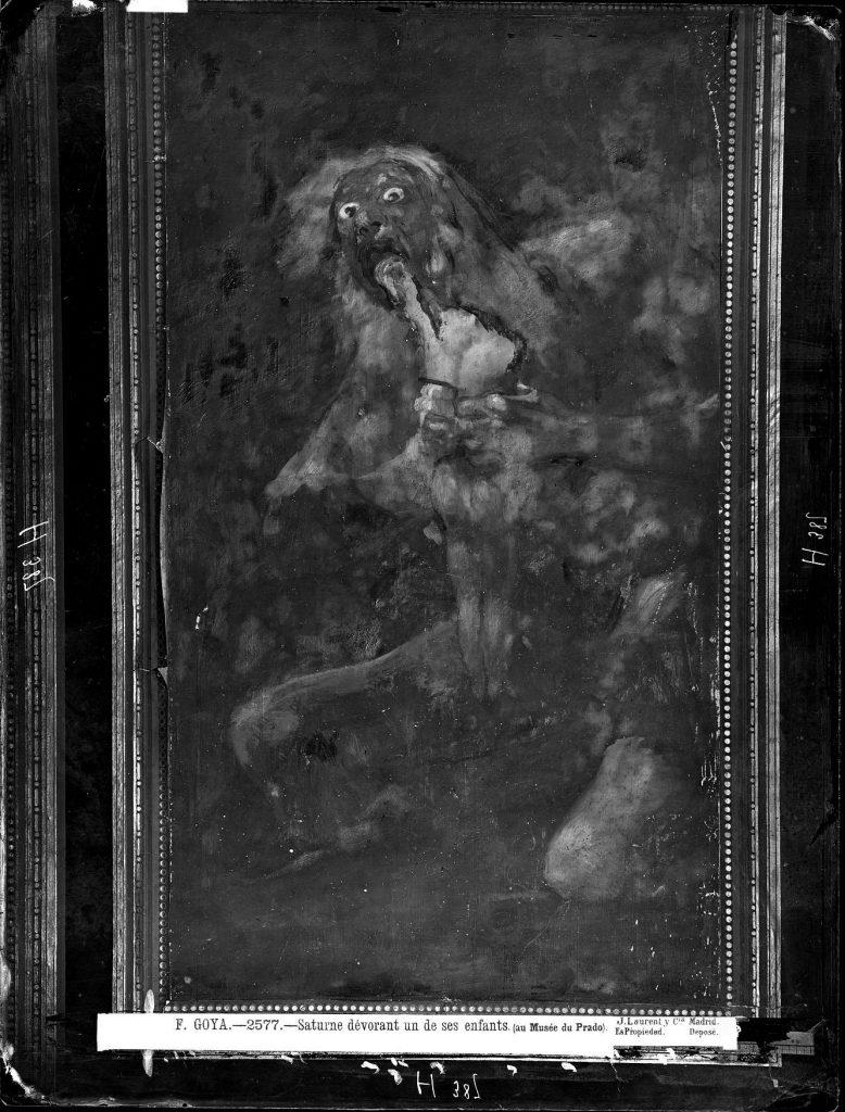 Fotografia de Laurent do quadro Saturno devorando a su hijo de Goya