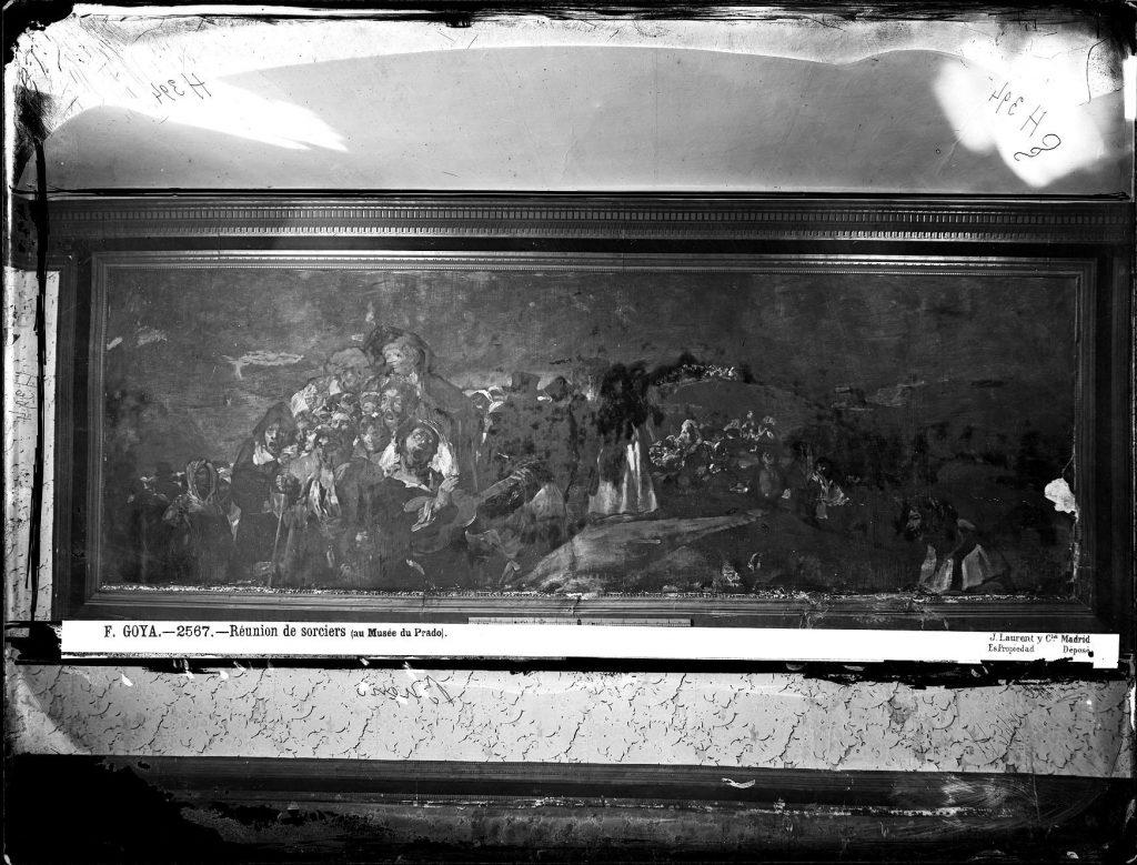 Fotografia de Laurent do quadro La romería de San Isidro de Goya